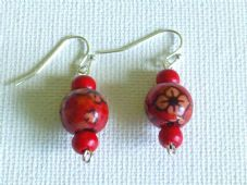 3 Bead red wooden earrings